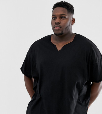 Asos DESIGN Plus oversized t-shirt with raw notch neck in black