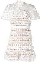 Self-Portrait lace-detail dress - women - Polyester/Spandex/Elastane - 12