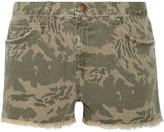 Current/Elliott The Boyfriend Frayed Camouflage-print Denim Shorts - 23