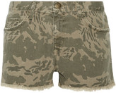 Current/Elliott The Boyfriend Frayed Camouflage-print Denim Shorts - Army green