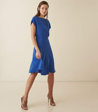 Reiss Victoria - Capped Sleeve Midi Dress in Blue