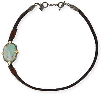 Armenta Old World Leather & Aquaprase Cabochon Wrap Bracelet