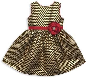 Joe Ella Little Girl's & Girl's Sash & Flower Zigzag Dress