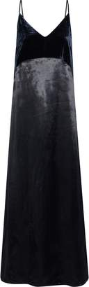 Maje Ryck Velvet-paneled Satin Maxi Slip Dress