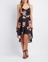 Charlotte Russe Floral High-Low Skater Dress