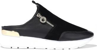 Donna Karan Effie Zip-detailed Suede And Leather Slip-on Sneakers