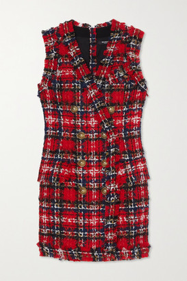 Balmain Frayed Checked Tweed Mini Dress - Red