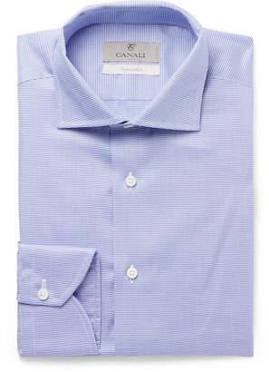 Canali Navy Checked Cotton Shirt