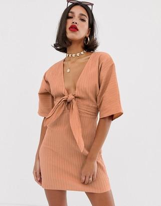 Asos Design DESIGN kimono sleeve twist front mini dress in texture