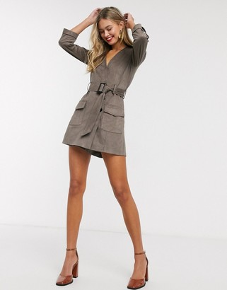 Morgan wrap front faux suede playsuit with belt in taupe