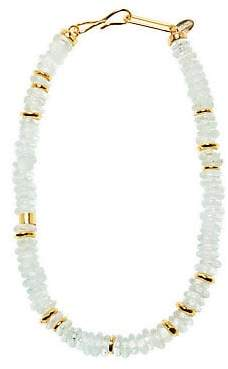 Lizzie Fortunato Women's Laguna 18K Goldplated & Aqua-Colored Glass Bead Necklace