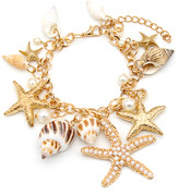 Amy And Annette Amy and Annette Women's Anklets Gold - Imitation Pearl & 18k Gold-Plated Sea Shell Charm Anklet
