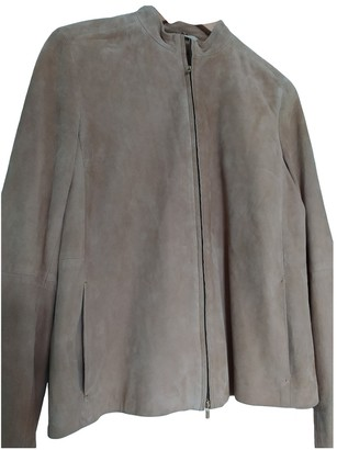 Max Mara 's Beige Suede Leather Jacket for Women