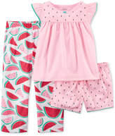 Carter's 3-Pc. Watermelon Cotton Pajama Set, Toddler Girls