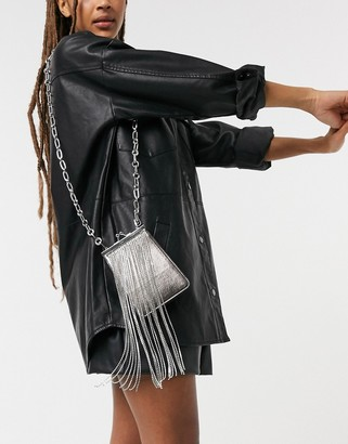 Topshop diamante metallic cross body bag in silver