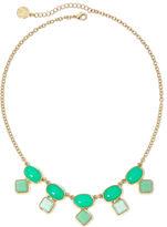 Liz Claiborne Green Stone Gold-Tone Collar Necklace