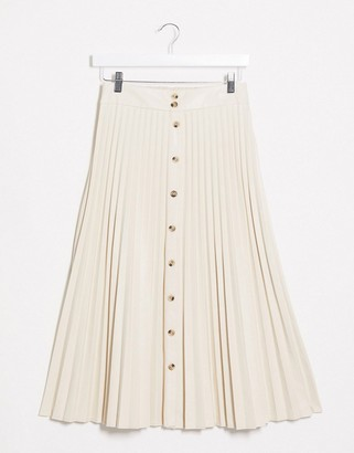 Stradivarius faux leather pleated skirt with front buttons in ecru
