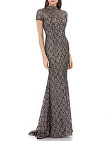Carmen Marc Valvo Metallic Lace Mock Neck Gown