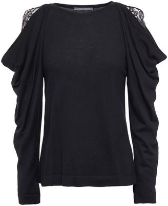 Alberta Ferretti Draped Lace And Knitted Top