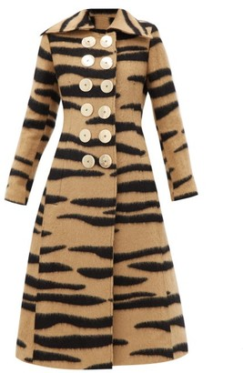 Paco Rabanne Double-breasted Tiger-striped Wool-blend Coat - Animal