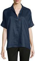 Go Silk Oversized Short-Sleeve Linen Tunic, Petite