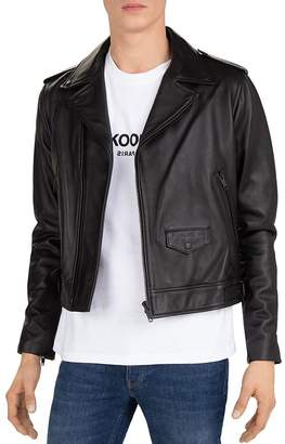 The Kooples Cropped Leather Moto Jacket