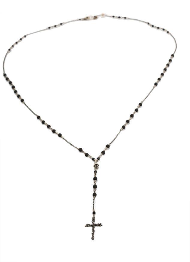 Chan Luu Matte Onyx Cross Charm Necklace