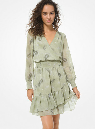 MICHAEL Michael Kors MK Ruffled Paisley Print Dress - Army - Michael Kors