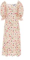 Luisa Beccaria Floral-Print Cotton-Lace Midi Dress