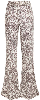 Zimmermann Belted Printed Linen Flared Pants