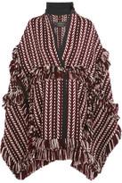 Burberry Fringed Herringbone-jacquard Wool-blend Cape - Burgundy