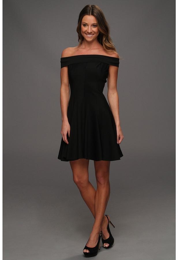 Halston Off Shoulder Ponte Dress with Circle Skirt (Black) - Apparel