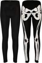 GirlzWalk ® Women Skeleton Print Bodycon Dress Bodysuit Leggings