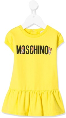 MOSCHINO BAMBINO Teddy Logo Print Ruffle Hem Dress