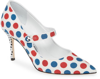 Manolo Blahnik Campari Dots Mary Jane Pump