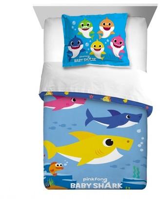 Pink Fong Baby Shark Kids 2pc Twin/Full Reversible Comforter and Sham Bedding Set, Shark Family