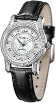 Silvia Rossini Sapphire Ladies' Stone Set Black Leather Strap Watch