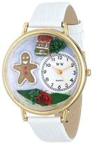 Whimsical Watches Christmas Gingerbread White Leather and Goldtone Unisex Quartz Watch with White Dial Analogue Display and Multicolour Leather Strap G-1220004