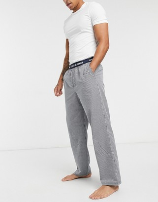 Jack and Jones woven lounge bottoms in black check
