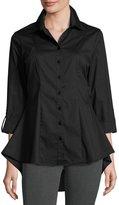 Neiman Marcus 3/4-Sleeve Swing Blouse, Black