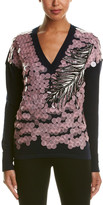 Emilio Pucci Pailette Sequin Embroidered Wool, Cashmere, & Silk Blend Sweater