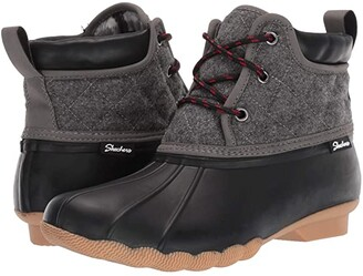 Skechers Mid Quilted Lace-Up Boot (Black/Charcoal) Women's Shoes