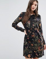 Lavand Tie Neck Floral Dress