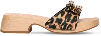 Roger Vivier 45mm Viv Leopard Jacquard Clog Sandals