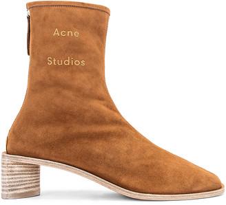 Acne Studios Logo Suede Boot in Antique Brown & Ecru | FWRD