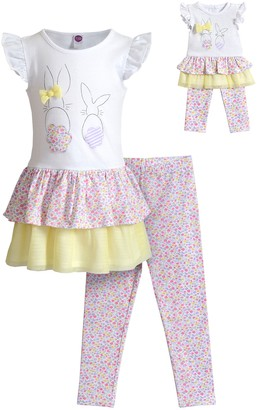 Dollie & Me Girls 4-10 Bunny Floral Dress with Printed Floral Leggings and Matching Doll Set
