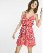Express Floral Print Ruffle Surplice Dress