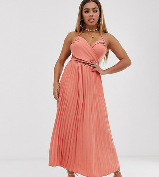 Fashion Union Petite midi dress with pleated skirt and cut out detail-Orange