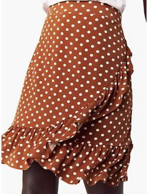 Oasis Spot Ruffle Mini Skirt, Tan/White
