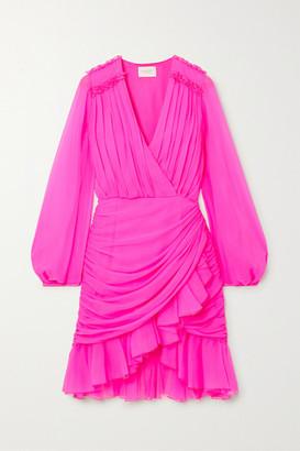 Giambattista Valli Wrap-effect Ruffled Silk-georgette Mini Dress - Pink